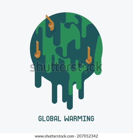 world being dissolved with global warming - stock vector