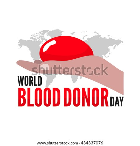 World blood donor day. Vector greeting card. Flat illustration. - stock vector