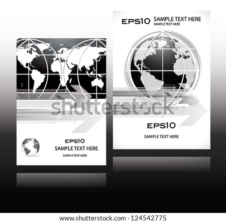 world business card paper in modern design in black and white color