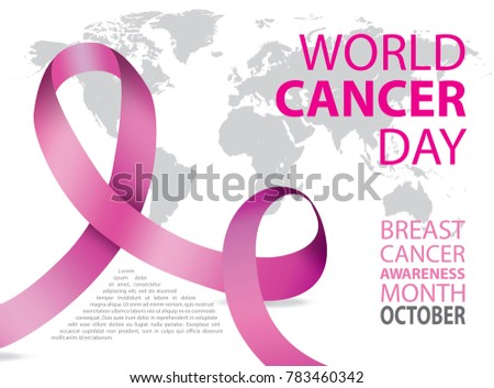 World Cancer Day Poster Pink Ribbon Stock Vector - Pink world map poster