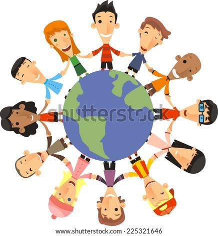 World Children Happiness vector illustration. - stock vector