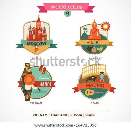 World Cities labels - Moscow, Phuket, Madrid, Hanoi - stock vector