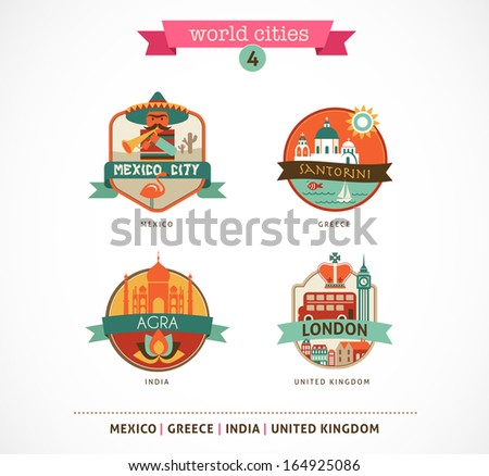 World Cities labels - Santorini, London, Agra, Mexico - stock vector