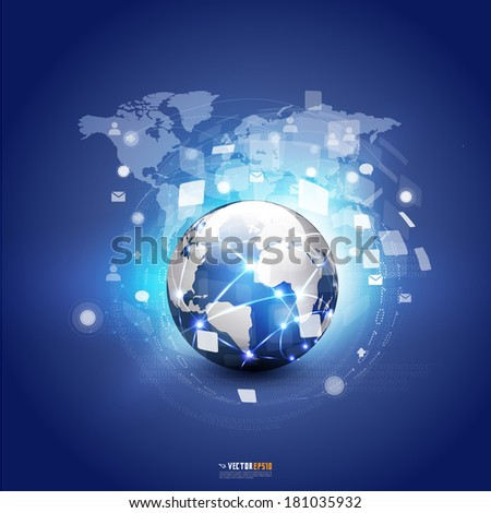 World communication and technology concept futuristic background, vector illustrator - stock vector