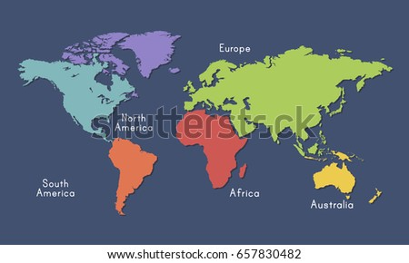 World Continent Map Location Graphic Illustration Stock Vector - World continent map