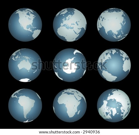 World Continents(Vector). Accurate map onto a globe. Includes Antarctica, Arctic, Atlantic. Details include small island chains, lakes and seas. - stock vector