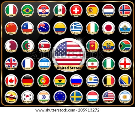 world countries vector flag glossy button, national flag, country flag badge - vector eps10 - stock vector