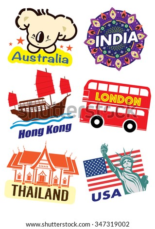 World country travel landmark icon set (vector) - stock vector