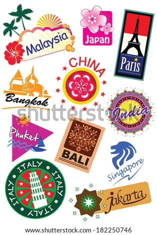 World country travel landmark icon sticker set (vector) - stock vector
