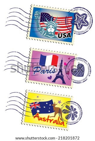 World country travel landmark stamp set - stock vector