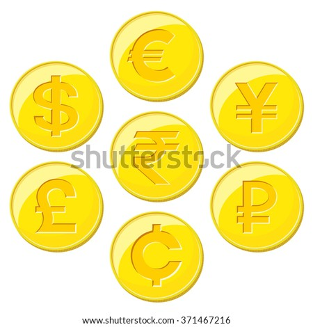 World currencies icons - stock vector