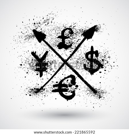 World currencies signs in grunge style - stock vector