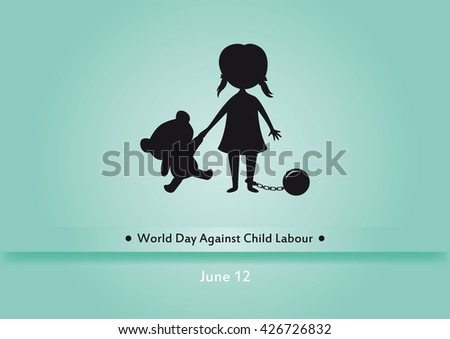 world day against child labour vector children worker vector illustration silhouette of a girl - Cartoon Picture Of Children