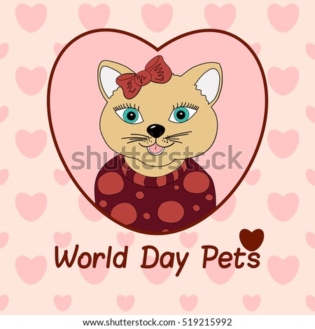 World Day Pets. A cat with a brown bow. Print for clothing, postcards. Love in pets