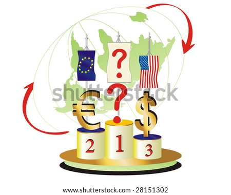 World Economic Turned Upside Down.The question is Which currency will be the winner - stock vector