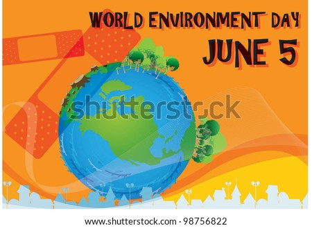 World Environment Day -  Care for blue planet from global warming and pollution on orange background : vector illustration - stock vector