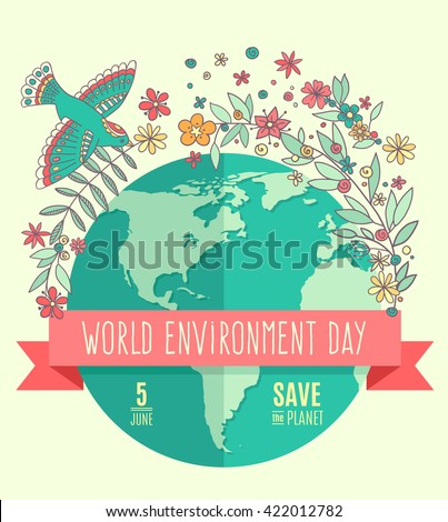 World environment day concept with mother earth globe and green leaves and flowers on beige background. With an inscription Save the Planet, 5 June. Vector Illustration. - stock vector