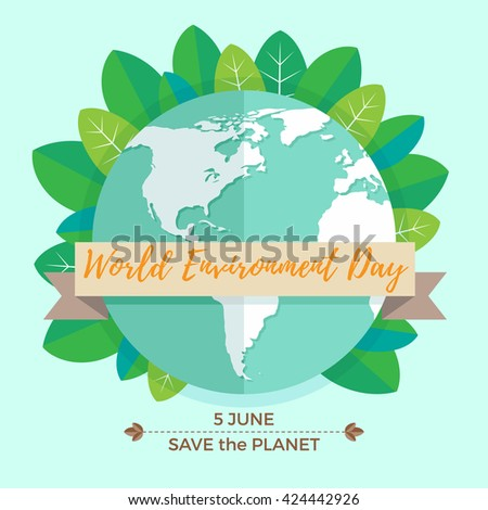 World environment day concept with mother earth globe and green leaves on mint background. With an inscription Save the Planet, 5 June. Vector Illustration - stock vector