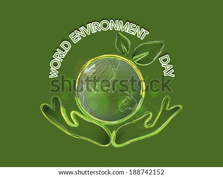 World Environment Day concept with mother globe protected by human hands, Save the Earth background.  - stock vector