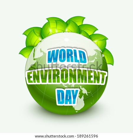 World Environment Day concept with shiny world globe, green leaves and stylish text on blue background. - stock vector