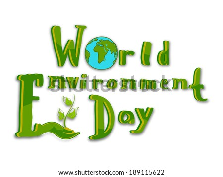 World Environment Day concept with stylish text and globe on white background, can be use as flyer, banner or poster.  - stock vector