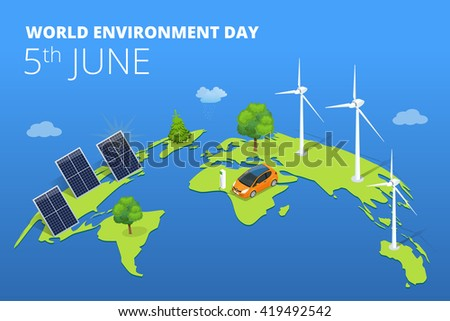 World environment day, environment day concept, environment day nature, environment day ecology, environment day Flat, environment day electric car, environment day alternative energy generator - stock vector