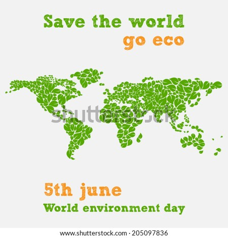 World environment day - fifth june, save the world illustration