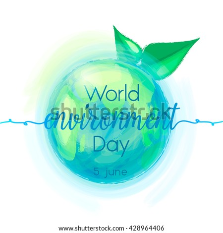 World environment day greeting card. Reminder about mother earth isolated on white background. Cartoon style with lettering - stock vector