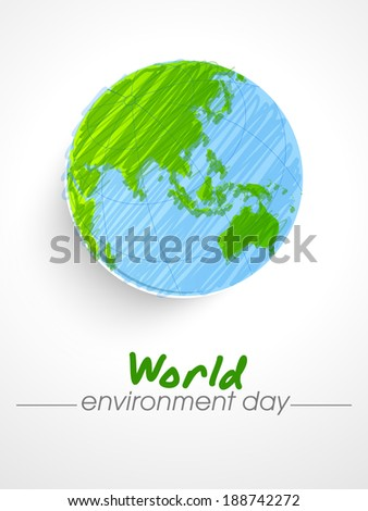 World Environment Day sticker, tag or label design with mother earth globe on grey background.  - stock vector