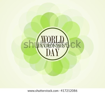 World Environment Day sticker, tag or label design with stylish text and green leaves. - stock vector