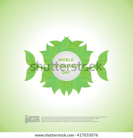 World Environment Day sticker, tag or label with beautiful green leaves and stylish text on abstract background. - stock vector