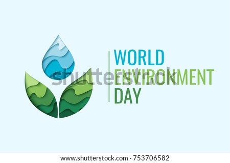 World Environment Day - vector abstract waterdrop concept. Save the water - ecology concept background with paper cut water drop and green leaves