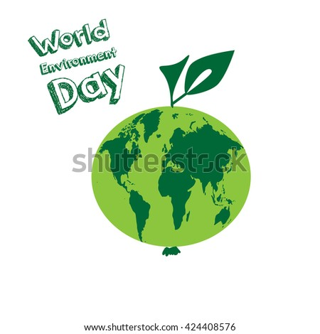 World Environment Day. Vector illustration EPS 10. Earth map. World map inside apple