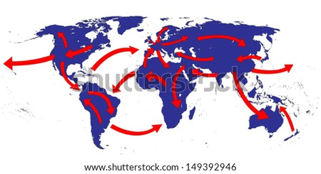 World Expansion Market Trade Routes Business Map - stock vector