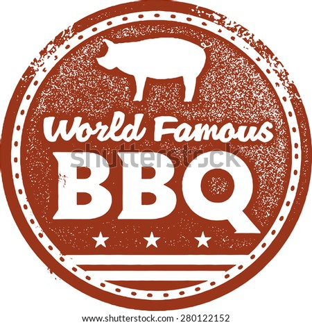 World Famous Barbecue BBQ Stamp - stock vector