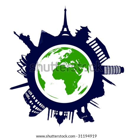 World famous landmarks - stock vector