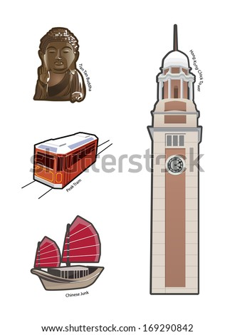 World famous landmarks and icons in Hong Kong - stock vector