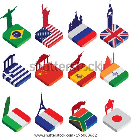 world famous landmarks as a square icon or button flag designs in colour isolated on a white background with silhouettes of famous landmarks - stock vector