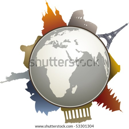 World-famous monuments colors - stock vector