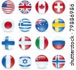 World Flag Buttons. UK, Canada, USA, Switzerland, Japan, Greece, Australia, Sweden, Finland, Denmark, Italy, Russia, France, Israel, Singapore, Norway. - stock photo