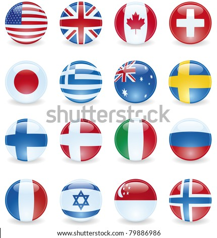 World Flag Buttons. UK, Canada, USA, Switzerland, Japan, Greece, Australia, Sweden, Finland, Denmark, Italy, Russia, France, Israel, Singapore, Norway. - stock vector