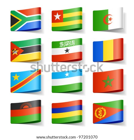 World flags. Africa. Vector.