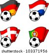 World flags and soccer ball - stock vector