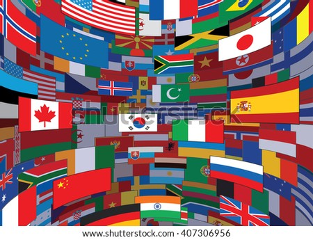 World Flags Backdrop. Background Ready for Your Text and Design.