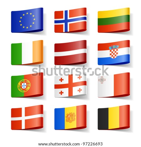 World flags. Europe. Vector. - stock vector