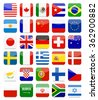 World Flags Flat Square Icon Set.All elements are separated in editable layers clearly labeled. - stock photo