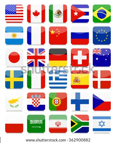 World Flags Flat Square Icon Set.All elements are separated in editable layers clearly labeled. - stock vector