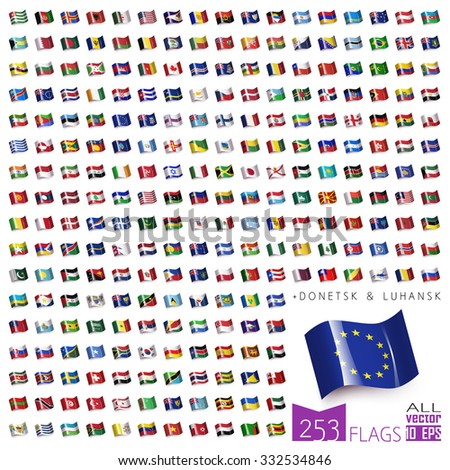 World Flags Icon Set Collection in Wave Flat Design - All Sovereign States / Countries in Vector - 2016