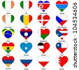 World Flags in Love Heart Shape - Pack 4 - stock photo
