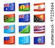 World flags. Oceania. Vector. - stock photo